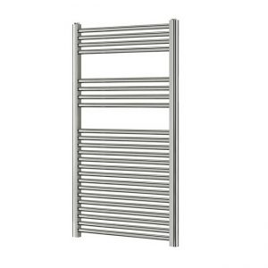 750mm Wide - 1200mm High Flat Chrome Heated Towel Rail Radiator 25mm Tube
