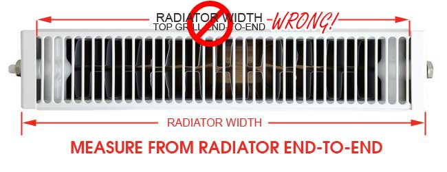 measure radiator width for radiator booster