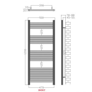 500mm Wide - 1200mm High Aluminium Black Designer Heated Towel Rail Radiator drawing