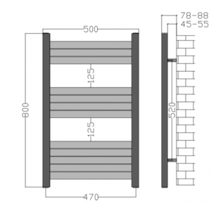 500mm Wide - 800mm High Aluminium Black Designer Heated Towel Rail Radiator